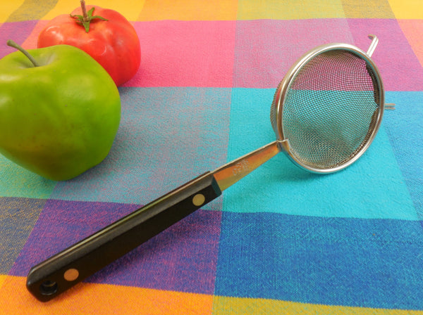 "Ekco USA Vanadium Stainless Mesh Strainer 3""... Black Handle Vintage Kitchen Utensil"
