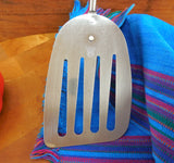 "Ekco USA Chromium Plated Long 13.5"" Spatula Turner - Olive Green Vintage Kitchen Utensil... used"