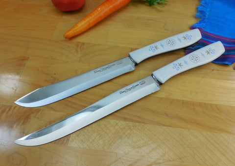 Ekco USA Vanadium Stainless Pair Kitchen Knives - Blue Gold White Tulip