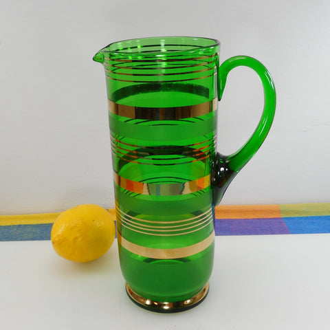 Art Deco Vintage Emerald Green Glass Cocktail Martini Pitcher Gold Etched Bands