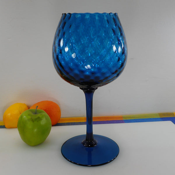 Empoli Italy Quilted Optic Blue Glass Tall Goblet 11-3/4""