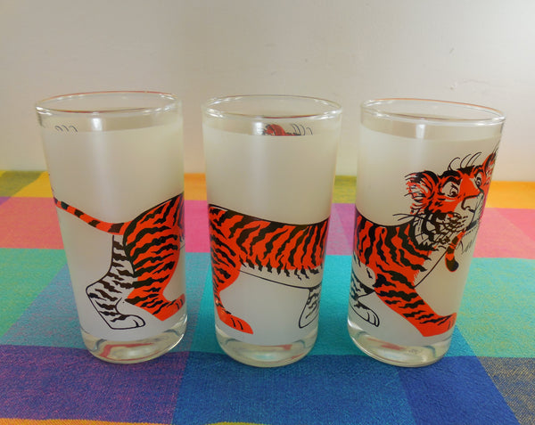 Esso Exxon Tiger In Your Gas Tank 3 Promotional Drink Glass Tumblers