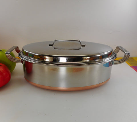 "Eckoware 1956 Cookware Stainless Steel Thick Copper Clad - 12"" Deep Covered Oval Casserole Roaster"