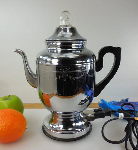 Farberware Chrome Super Speed Coffee Percolator Pot - Model 110 Automatic - Vintage 1950-60s