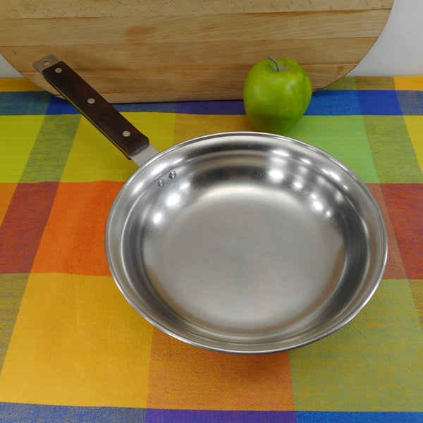 "Farberware 1970's Advantage Cookware - Tri-Ply 10"" Fry Pan Skillet Birch Wood Handle"