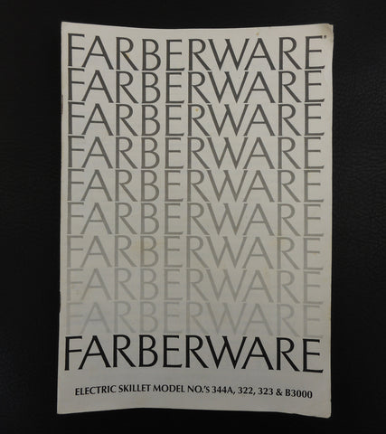 Farberware Electric Skillet Instruction Manual Recipes 322 323 344A B3000