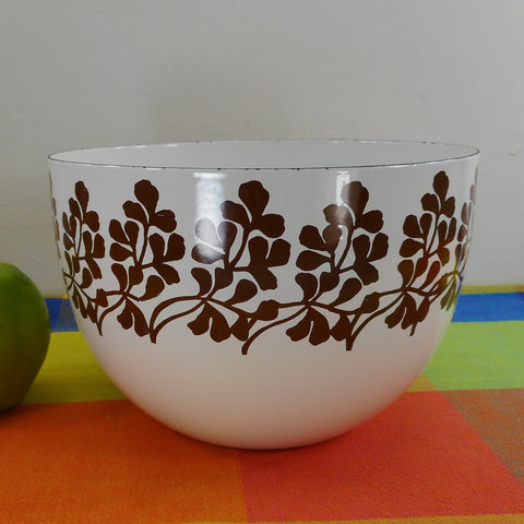 Arabia Finel Finland Enamelware Bowl - Varpu Brown Twig Leaf on White