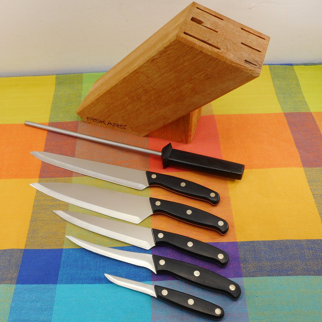 Fiskars Finland 6 Piece Kitchen Knife Set wt Wood Block - Stainless Black POM Handle