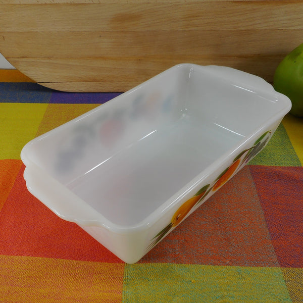Fire King Gay Fad Fruit 1 Quart Glass Loaf Baking Dish 409