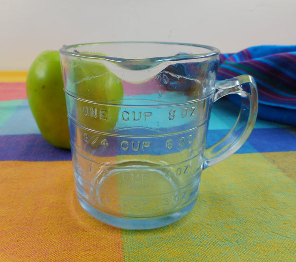 Fire King Philbe Blue Glass Vintage Measuring Cup 8 Oz.