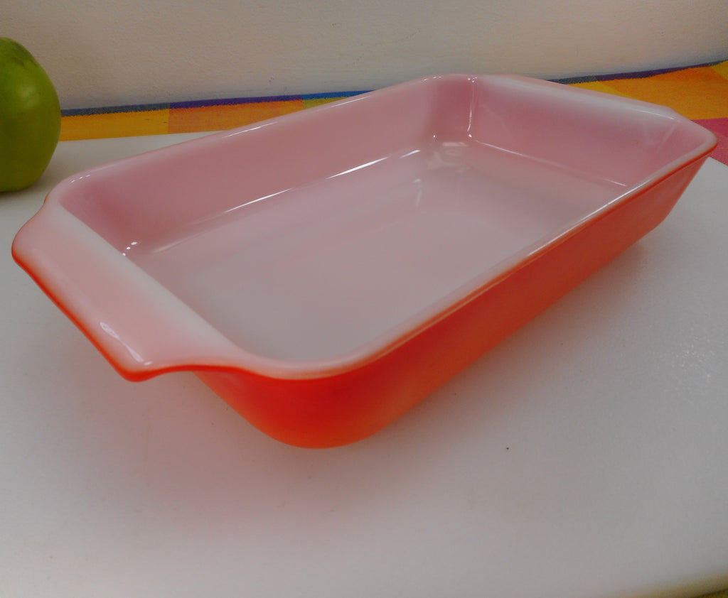 Fire King Anchor Hocking USA - Flame Orange/Red 1-1/2 Quart Glass Casserole Baking Dish