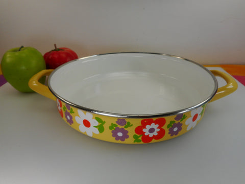 "Mod Yellow Flower Power 1970s Enamelware 10"" Pan Brasier Skillet Paella"