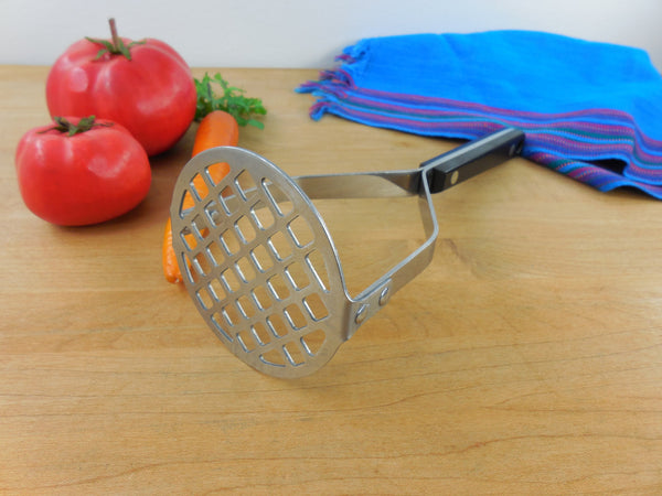 SOLD.... Flint (EKCO) Vanadium Stainless Potato Vegetable Masher - Black Handle Vintage Kitchen Utensil