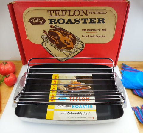 Foley USA Turkey Roaster Pan with Adjustable V Rack - Black Teflon Aluminum Mid Century