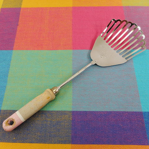 Foley USA Vintage Kitchen Utensil - Pink/Gray Wood Handle - Lifts Mixes Whips Mashes Crushes Strain