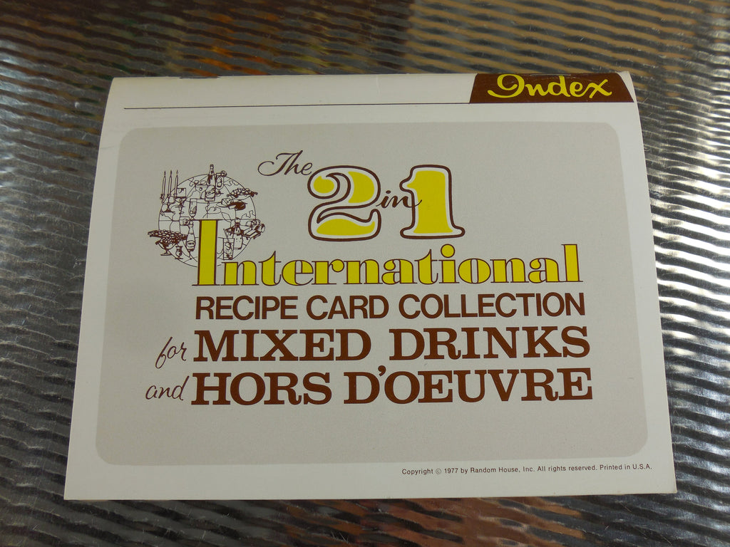 Random House 1970s International Recipe Card Collection for Mixed Drinks and Hors D'Oeuvre - Bar Cocktail Mixology mid century
