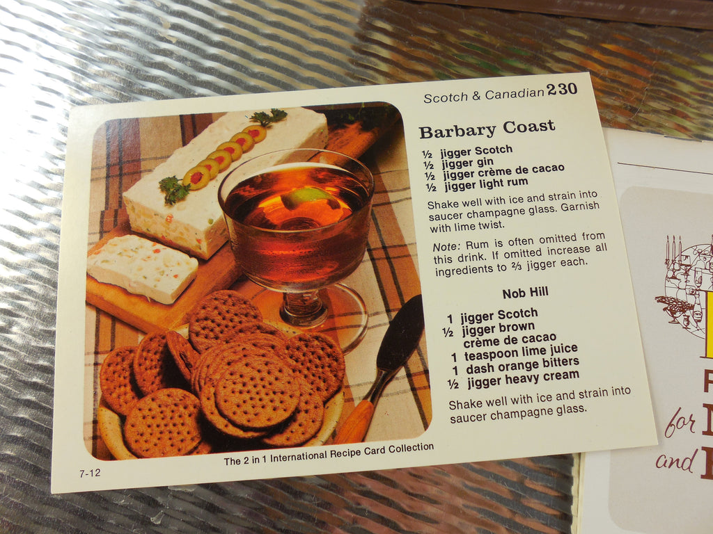 Random House 1970s International Recipe Card Collection for Mixed Drinks and Hors D'Oeuvre - Bar Cocktail Mixology... retro