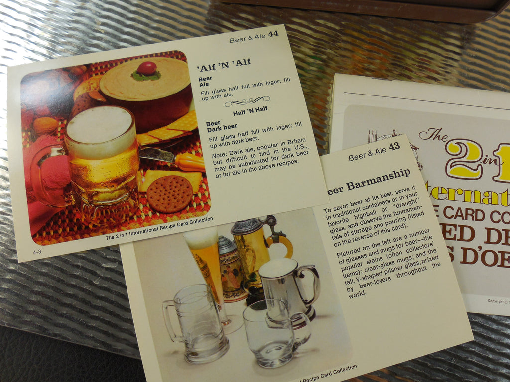 Random House 1970s International Recipe Card Collection for Mixed Drinks and Hors D'Oeuvre - Bar Cocktail Mixology Beer Wine