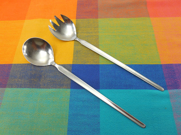 Gemco Norway Stainless Salad Server Set Spoon Fork - Mid Century Modern