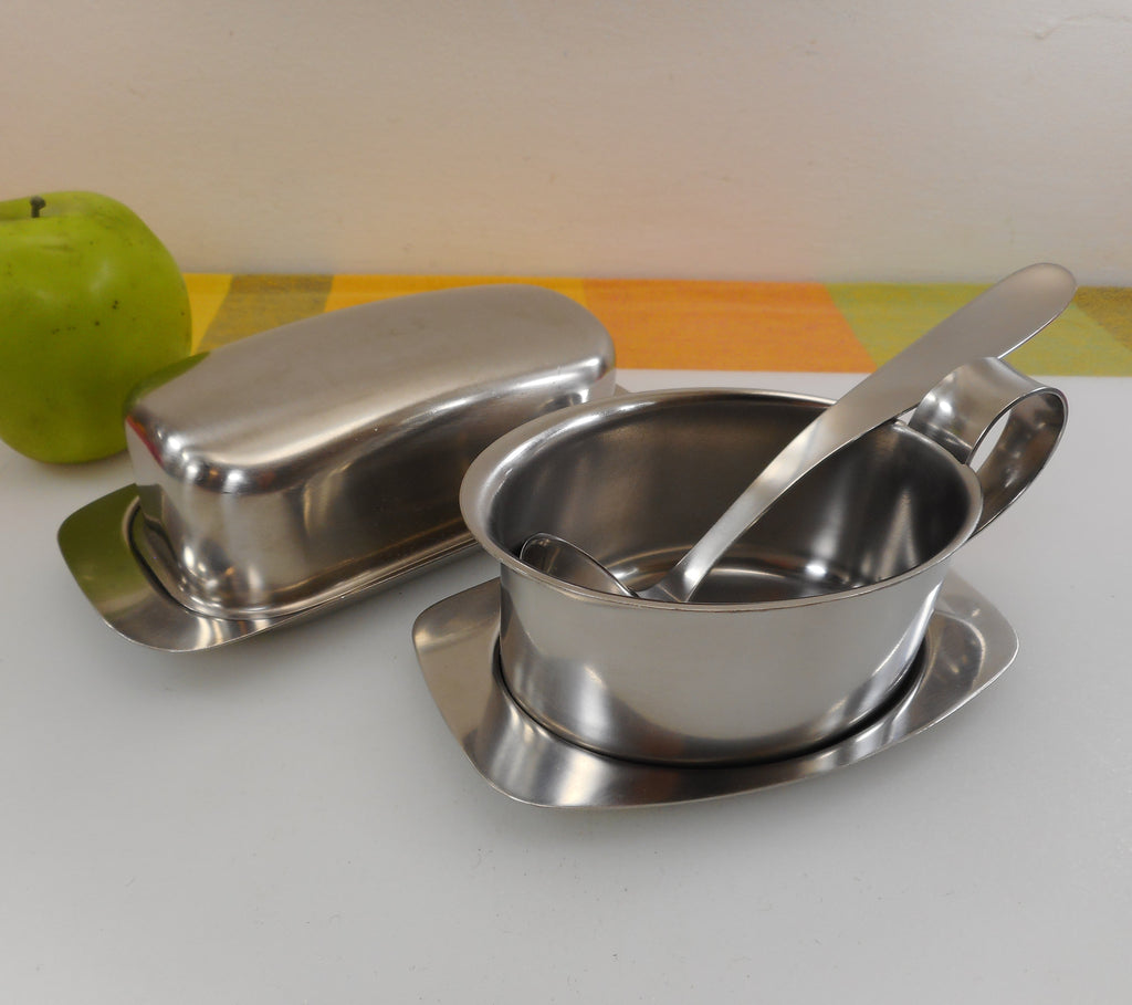Gense Sweden 18-8 Stainless Butter Dish and Gravy Boat Bowl wt Ladle