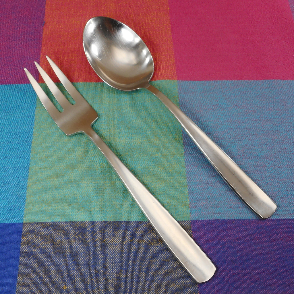 Gense Sweden Facette 18-8 Stainless Solid Serving Spoon & Cold Meat Fork