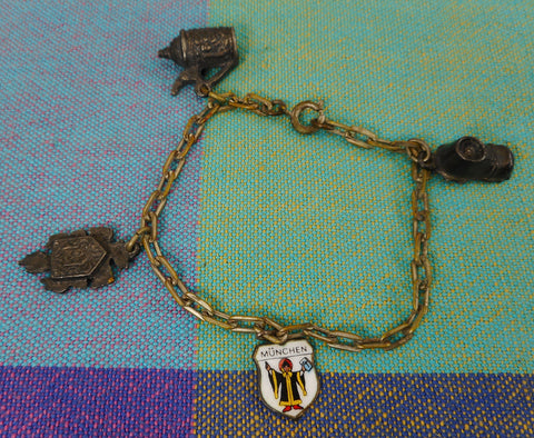 Old German 835 Silver Charm Bracelet Munchen Shield Clock Tankard Boot