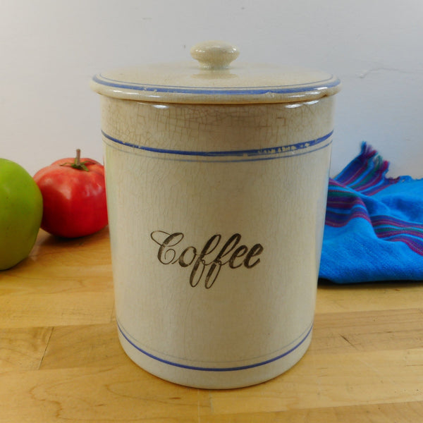 Antique Stoneware Coffee Contanier Canister Blue Rings - Farmhouse Primitive