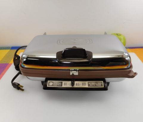 GE General Vintage Electric Automatic Grill & Waffle Baker Chrome Brown Teflon 24G44T