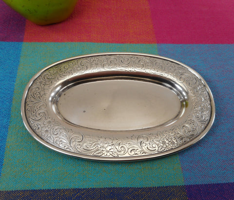 Gorham Antique Sterling Silver Oval Etched Dresser Vanity Tray #B279 Scroll Floral