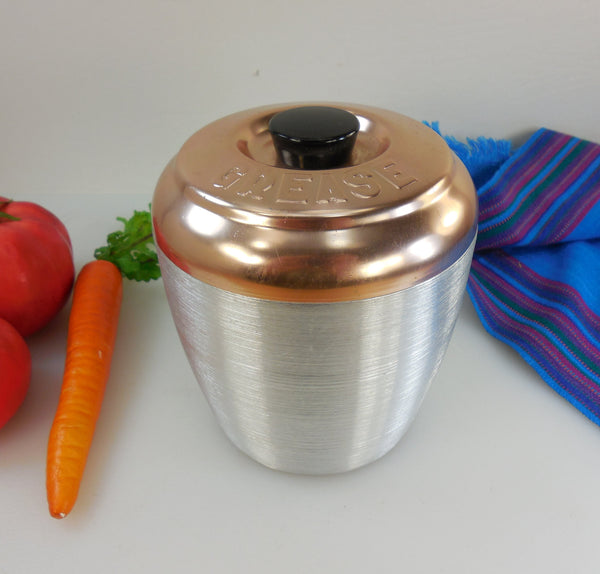Spun Aluminum Kitchen Grease Canister Jar Can - Copper Anodized 1950s