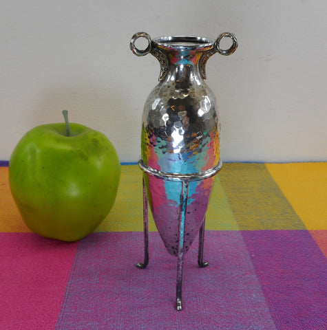 Greek Signed Sterling Silver Hammered Amphora Bud Vase in Tripod Stand