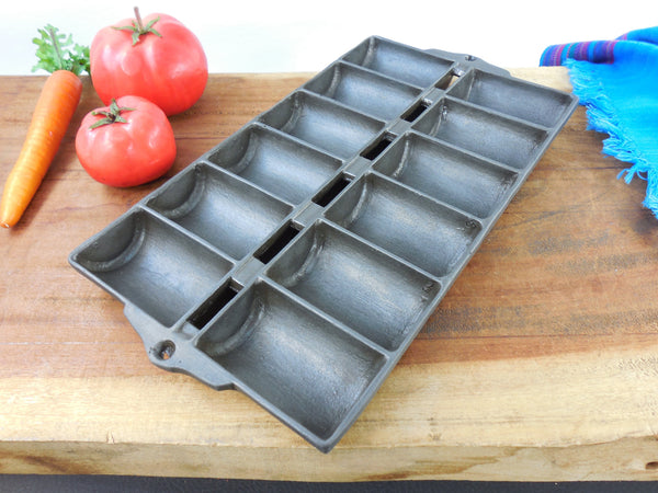 SOLD... Griswold Style Unmarked Antique Cast Iron French Roll Muffin Pan - No. 11  New England Style