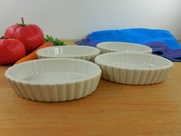 Hall China Four Set 851 White 3 Oz. Fluted Souffle / Creme Brulee Dish Oval Ramekin - Vintage Kitcheware