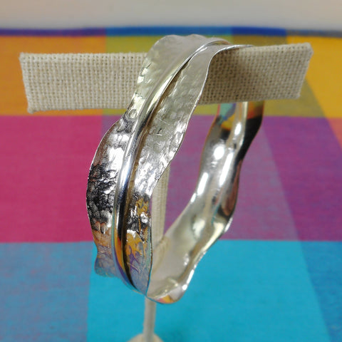Artisan Hammered Sterling Silver 925 Bracelet wt Floating Ring Unsigned