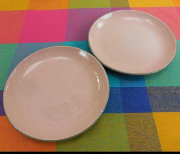 "Harkerware USA Vintage Pair 7.5"" Salad Plates - Pink Grey"