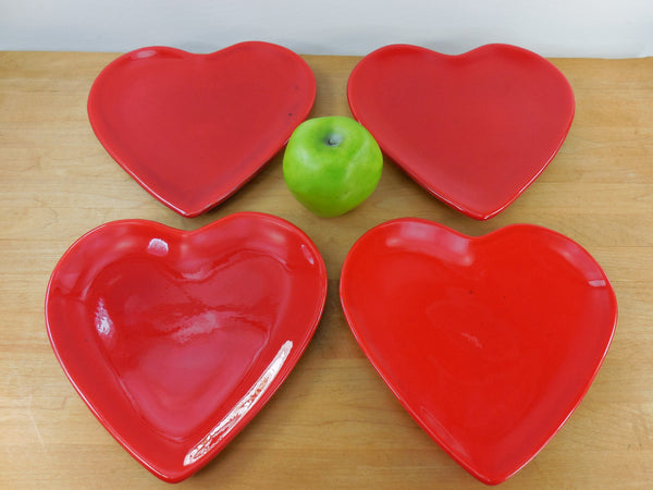 Vintage Ancora Italian Romantic Red Heart Shaped Plates