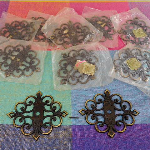 Allison Japan NOS Vintage Scroll Black Gold Drawer Knob Escutcheon Plates - 10 Set