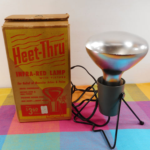 Heet-Thru Vintage Infra-Red Lamp Model LH-1 with Box - First Lamp Co. Toledo Ohio