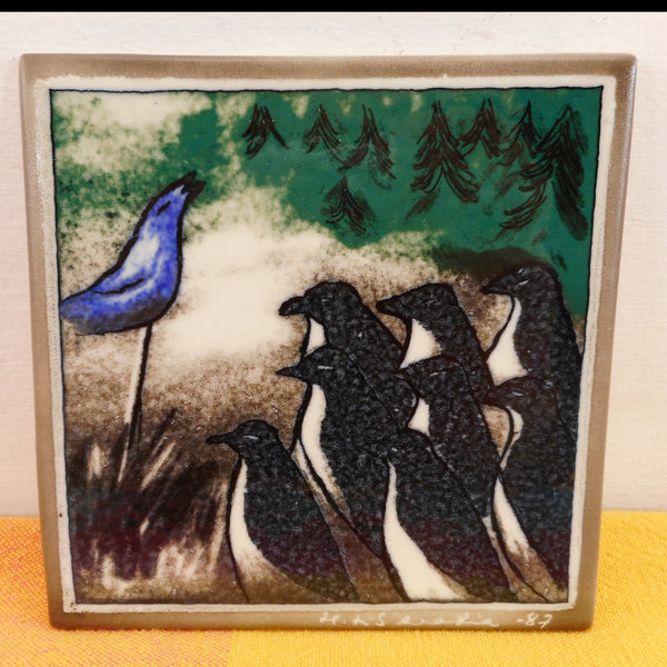 Arabia Finland 1987 Heljä Liukko-Sundström Wall Plate Art Tile Penguins Blue Seal
