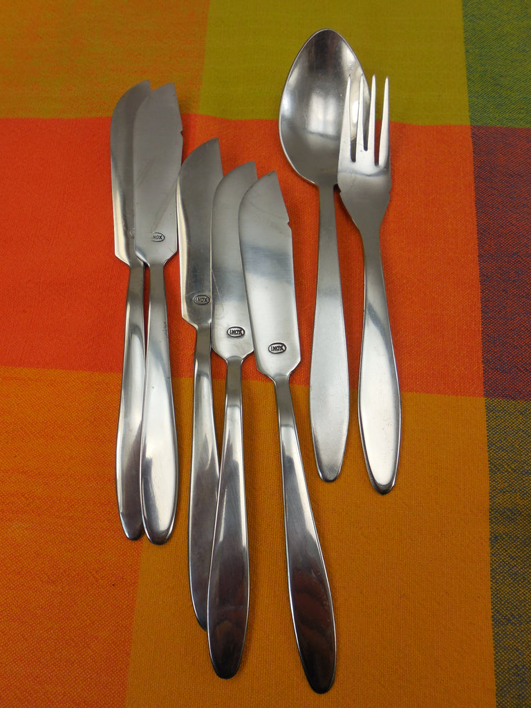 Herdmar & INOX.. Vintage 36 Pc. Lot MCM Stainless Flatware - Unknown Patterns - 2 types