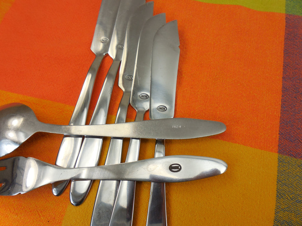 Herdmar & INOX.. Vintage 36 Pc. Lot MCM Stainless Flatware - Unknown Patterns... maker mark