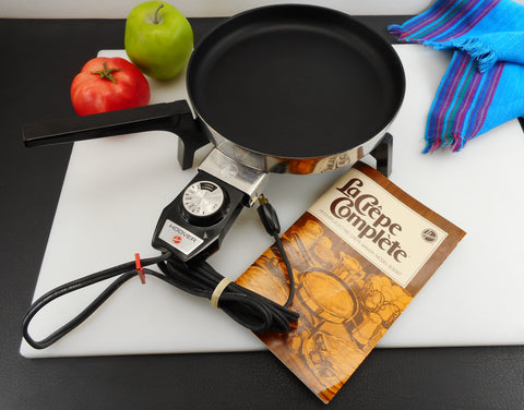 "Hoover Electric La Crepe Complete Fry Pan Skillet - Small 8"" - Unused Vintage 1970s Kitchen Appliance"