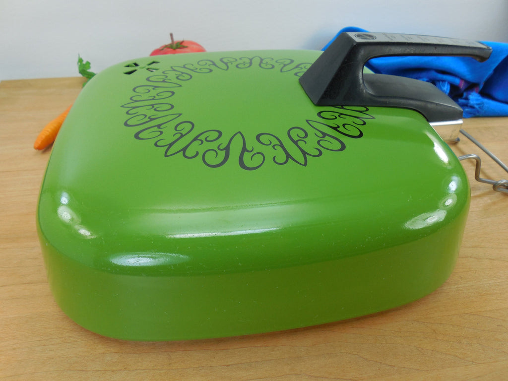 Hoover Electric Skillet Combo Broiler Replacement Lid - Mod Avocado Green side view