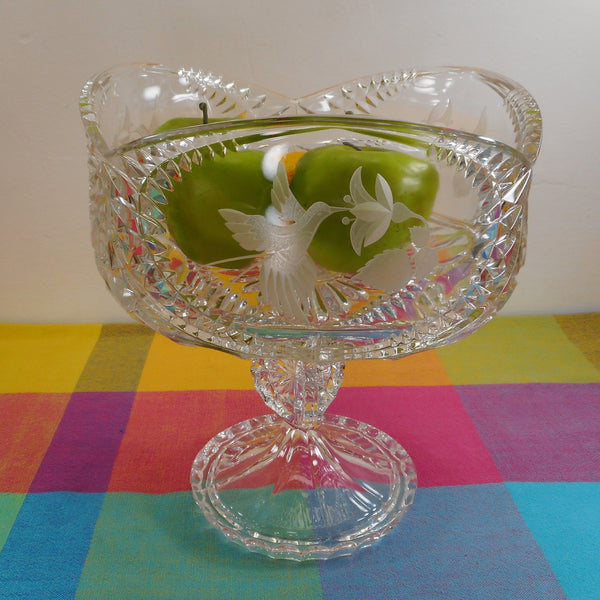 Unbranded Large Lead Crystal Glass Hummingbird Compote Centerpiece Pedestal Bowl