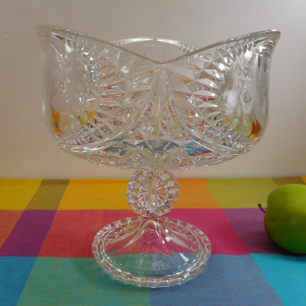 Unbranded Large Lead Crystal Glass Hummingbird Compote Centerpiece Pedestal Bowl 3 Sided
