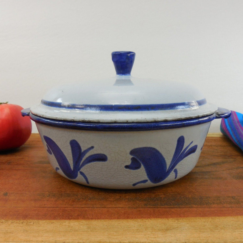 Husqvarna Sweden Vintage Bluebird Enamelled Cast Iron Lidded Casserole Dutch Oven Pot