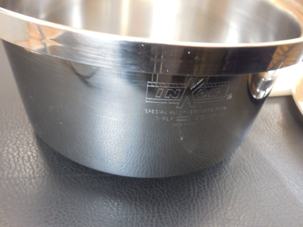Inkor West Bend 3 Quart Saucepan with Steamer Insert - Special Alloy 3 Ply Stainless USA