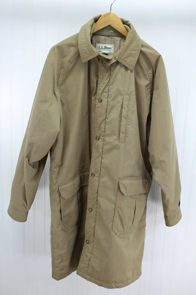 L L Bean Khaki Coat Vintage Mens Wool Plaid Lining Polyester Insulation