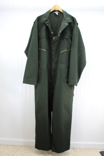 Sears Vintage Coveralls USA Mechanics Style Dark Green Poly Cotton Twill Snaps Zips Size 54R