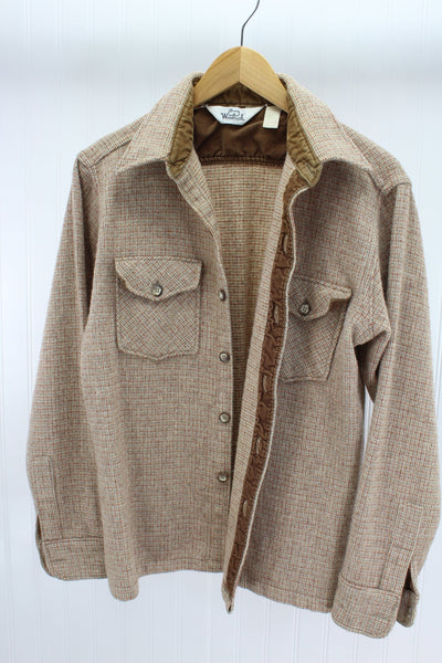 Woolrich Wool Shirt Boys XL Tweed Browns Greys Unisex OK Nice Warm